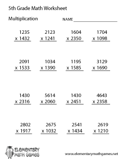 math worksheet : fifth grade math worksheets : Elementary Multiplication Worksheets