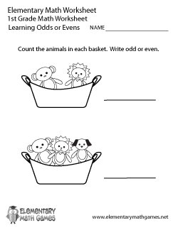 First Grade Learning Odds or Evens Worksheet