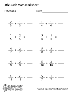 Fourth Grade Learning Fractions Worksheet