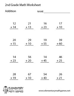 Worksheet Math Worksheets 2nd Grade Printable second grade math worksheets addition worksheet