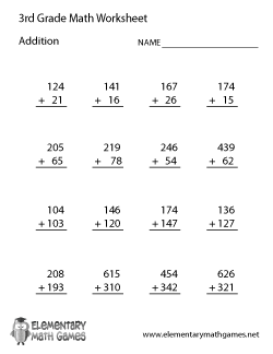 Third Grade Math WorksheetsThird Grade Addition Worksheet
