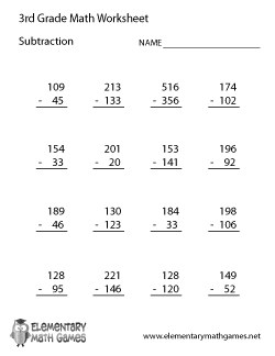 Printables Math Worksheets For Third Graders subtraction worksheets for third grade scalien scalien