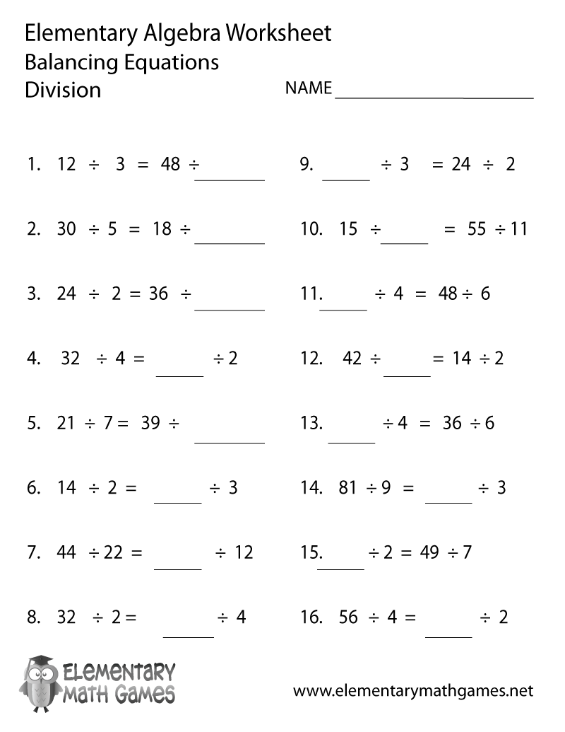 Elementary Algebra Worksheets – Divison Worksheet