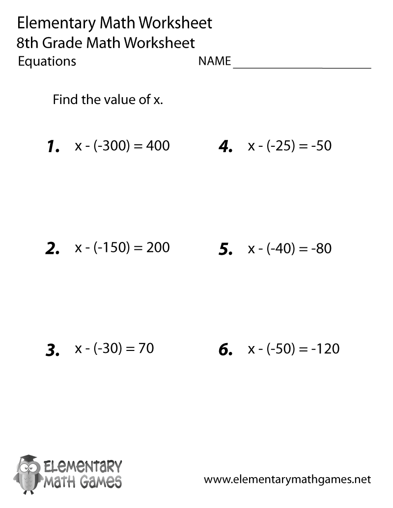 Equations worksheet 8th grade
