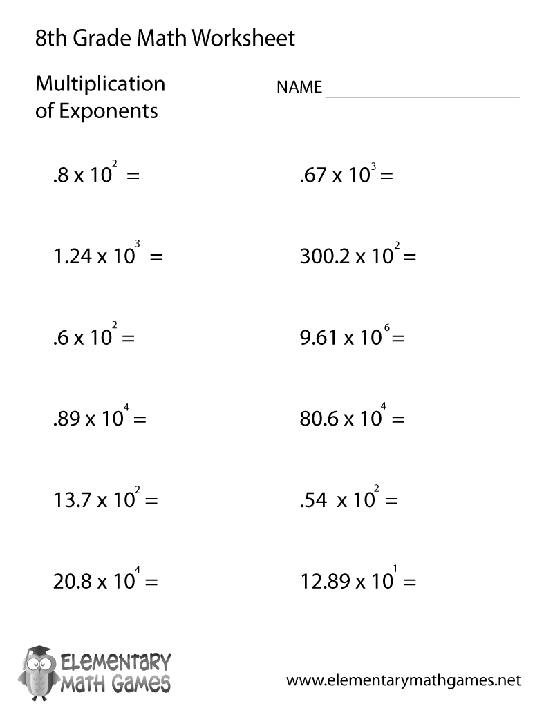 worksheet Exponents Worksheets 6th Grade eighth grade math worksheets multiplication of exponents worksheet