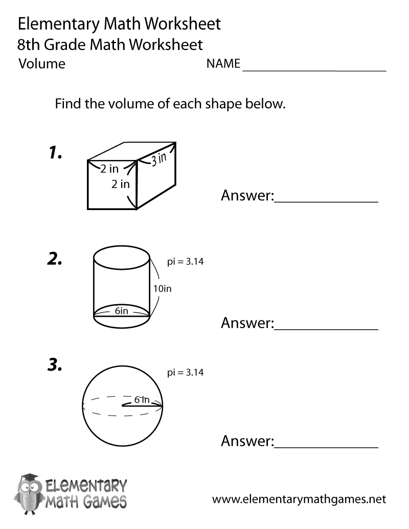 Eighth Grade Volume Worksheet