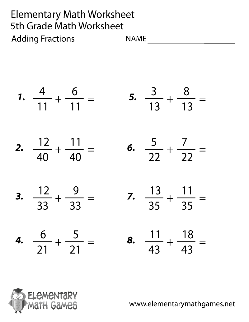 Fifth Grade Adding Fractions Worksheet Printable