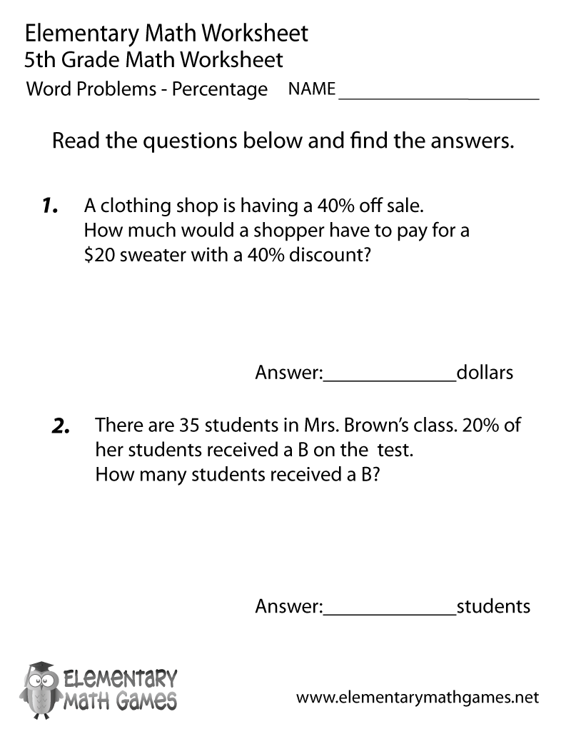 Fifth Grade Percentage Word Problems Worksheet – 5th Grade Word Problems Worksheets