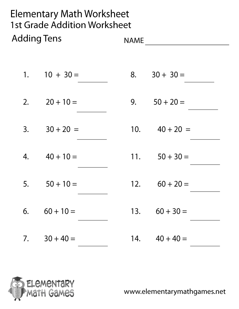 First Grade Adding Tens Worksheet Elementary Math Games – Math Worksheets for 1st Grade Printable