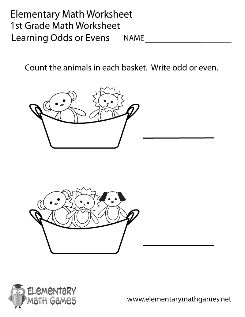 First Grade Learning Odds or Evens Worksheet Printable