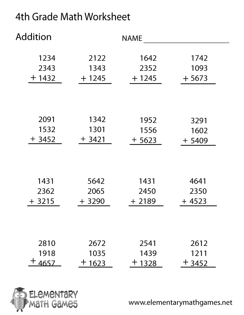 math worksheet : free printable addition worksheet for fourth grade : Fourth Grade Math Worksheets Free