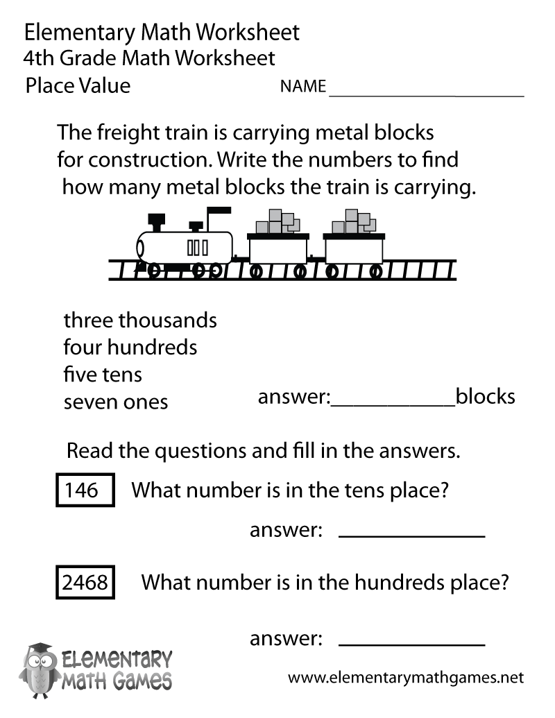 Free Printable Place Value Worksheet for Fourth Grade