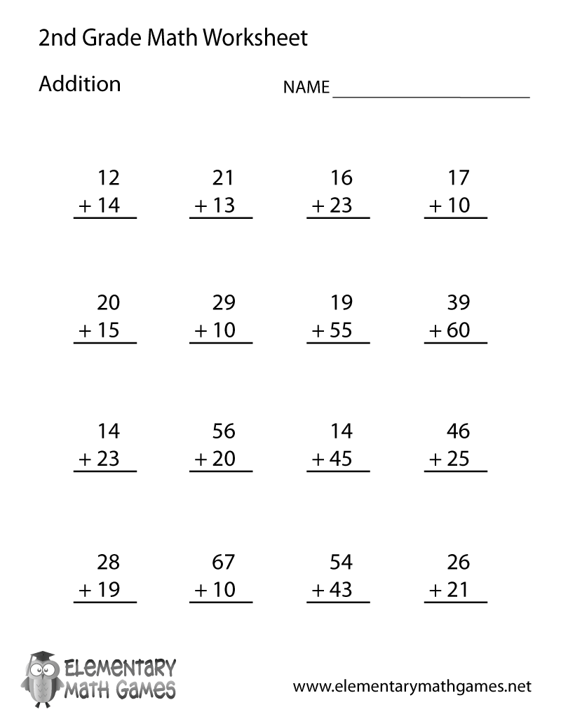 Second Grade Addition Worksheet Printable
