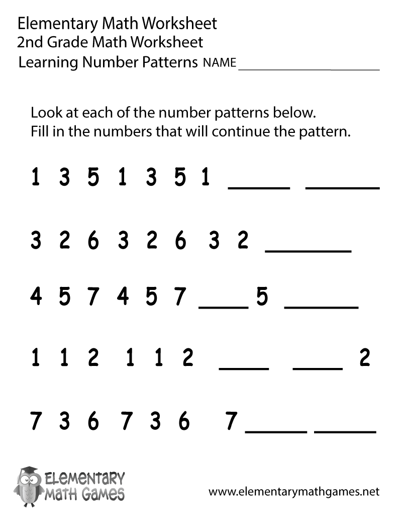Second Grade Number Patterns Worksheet – Printable Math Worksheets for Second Grade