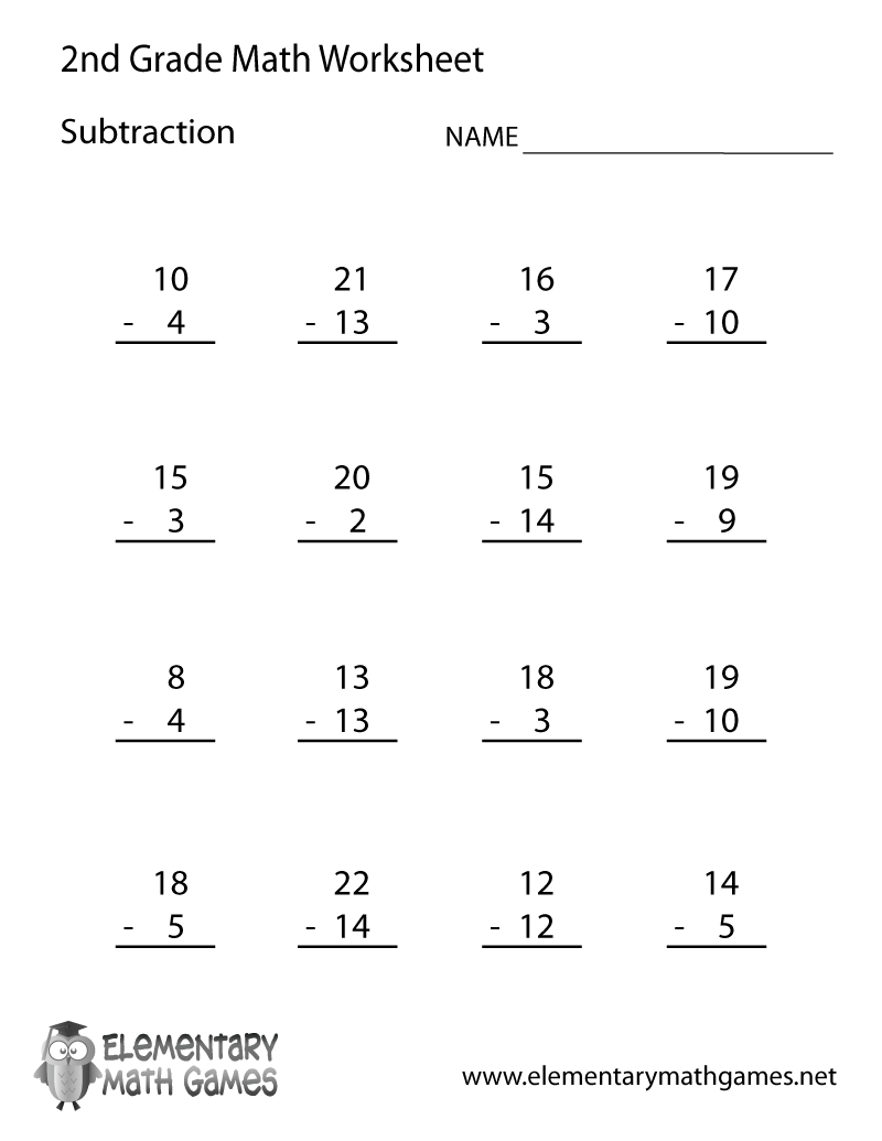 Worksheets 2nd Grade Math Worksheets Printable second grade subtraction worksheet