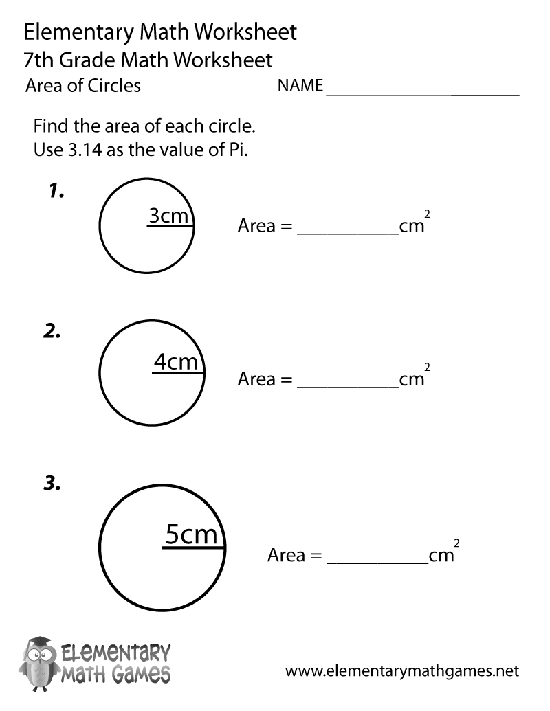 Seventh Grade Area of Circles Worksheet