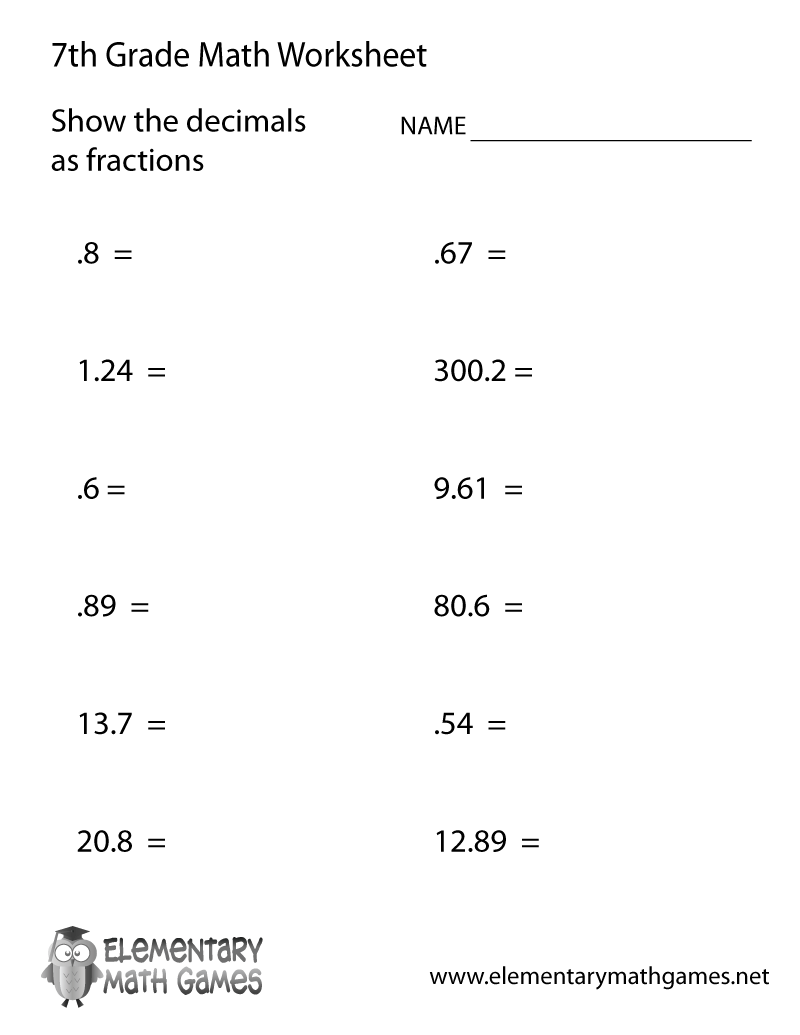 Free Printable Decimals Worksheet for Seventh Grade – Free Decimal Worksheets