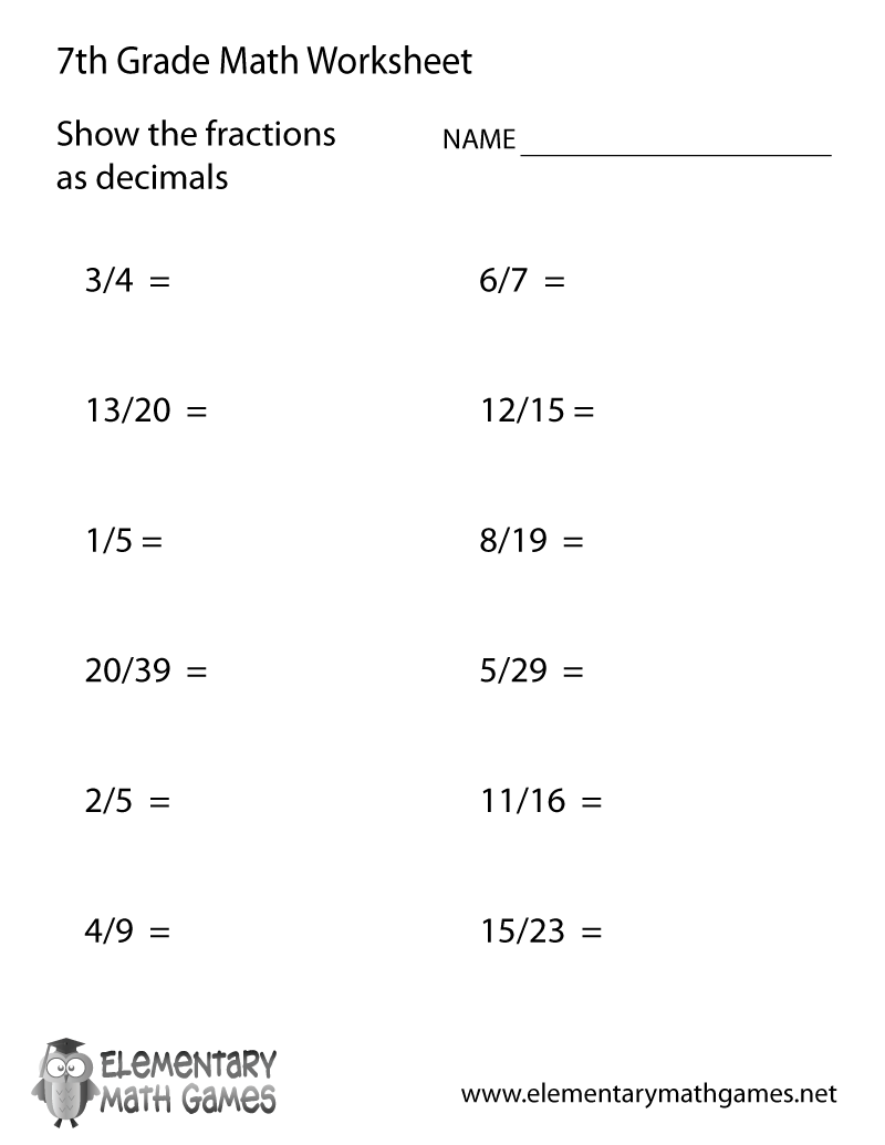 Seventh Grade Fractions and Decimals Worksheet Printable