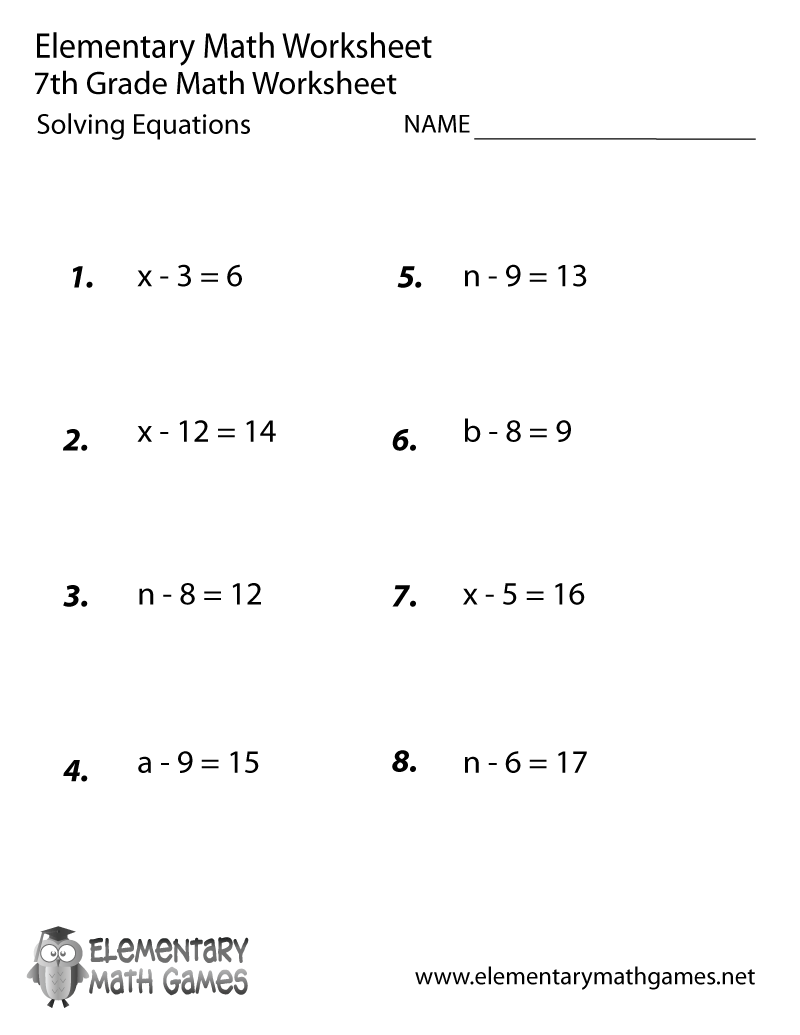 Printables Solving Algebraic Equations Worksheet seventh grade math worksheets solving equations worksheet