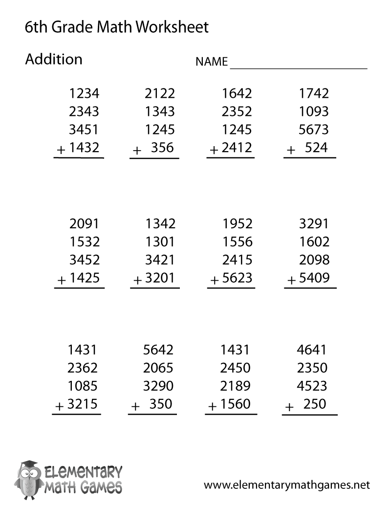 Sixth Grade Addition Worksheet – 6th Grade Decimal Worksheets