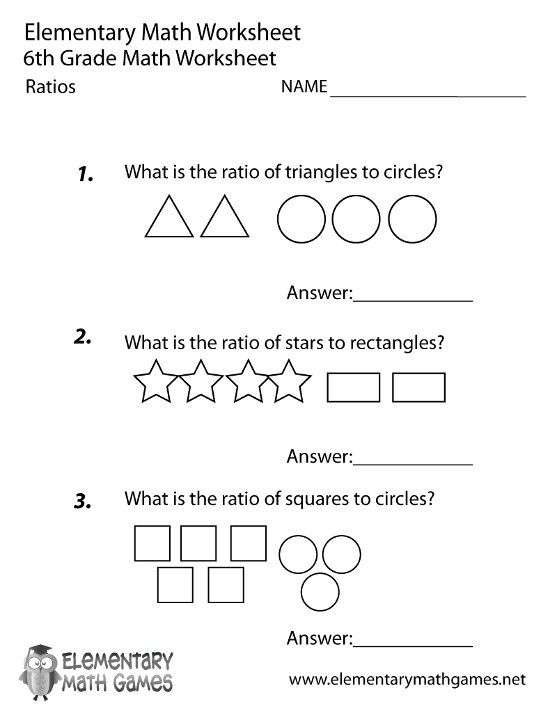 Sixth Grade Ratios Worksheet Printable