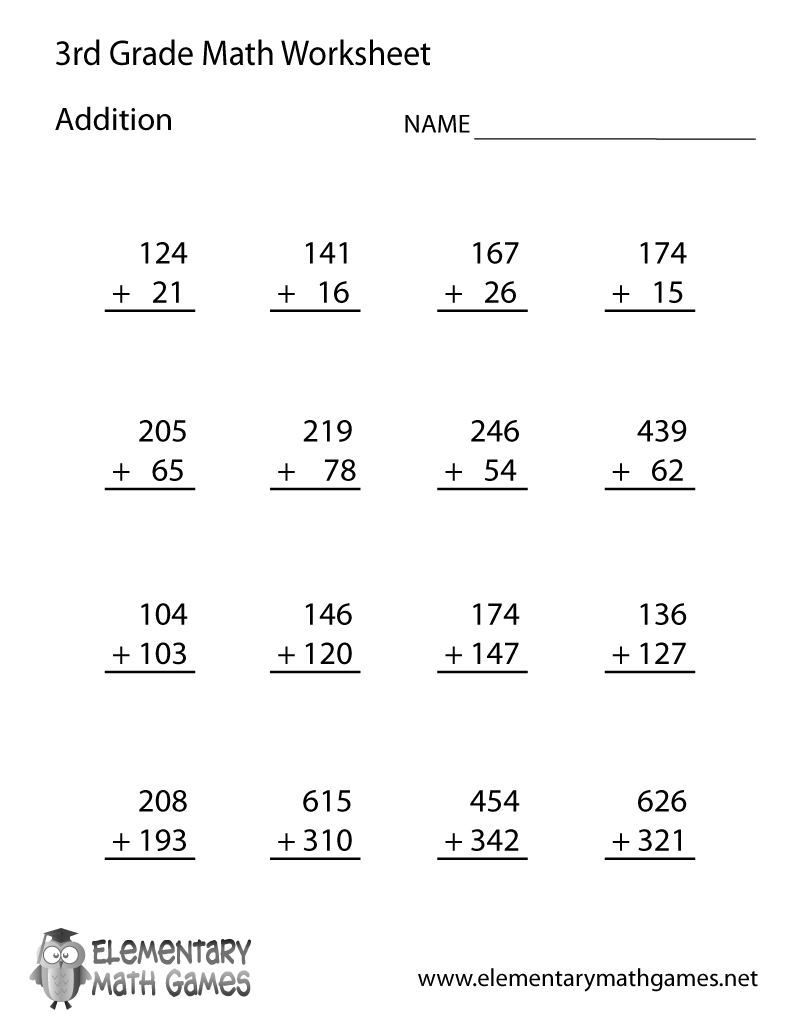 math worksheet : free printable addition worksheet for third grade : Math Worksheet For 3rd Grade