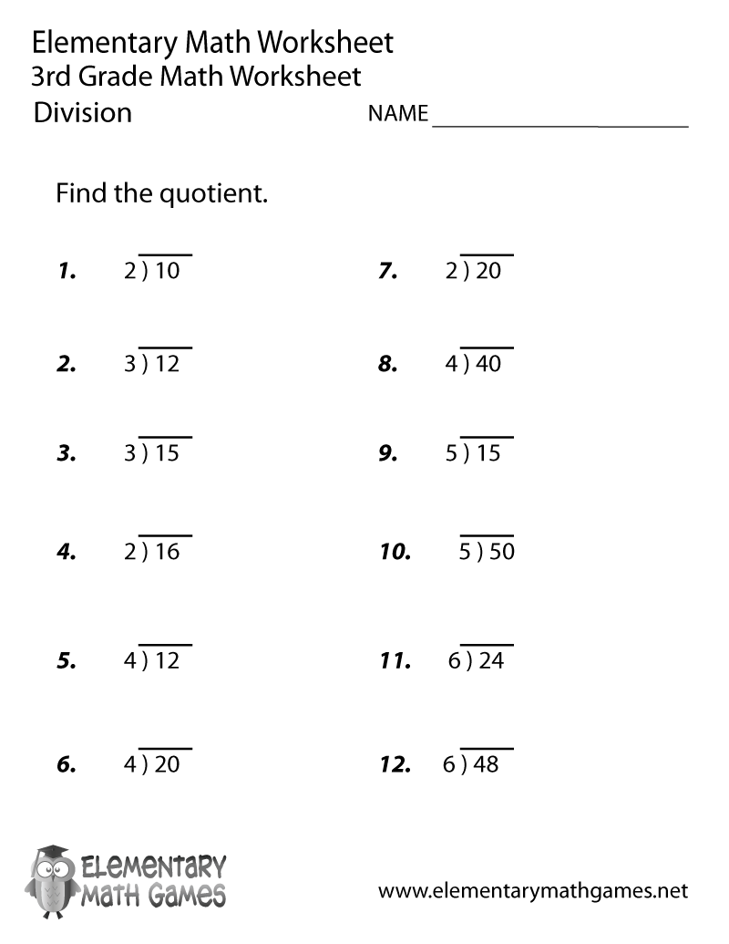 Third Grade Division Worksheet – 3rd Grade Math Worksheets to Print