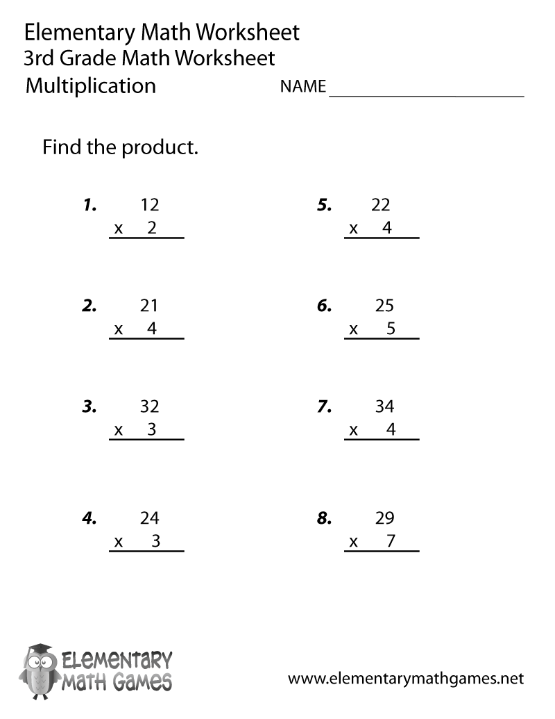 Third Grade Multiplication Worksheet Printable