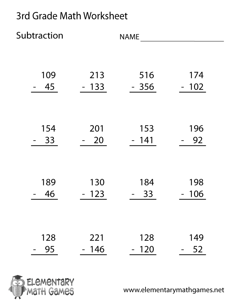 Third Grade Subtraction Worksheet Printable