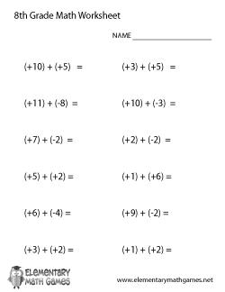 Eighth Grade Addition Worksheet