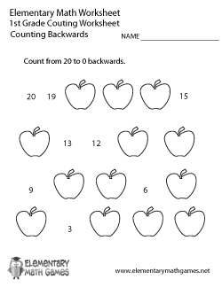 First Grade Counting Backwards Worksheet