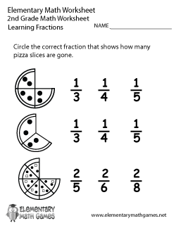 Second Grade Learning Fractions Worksheet