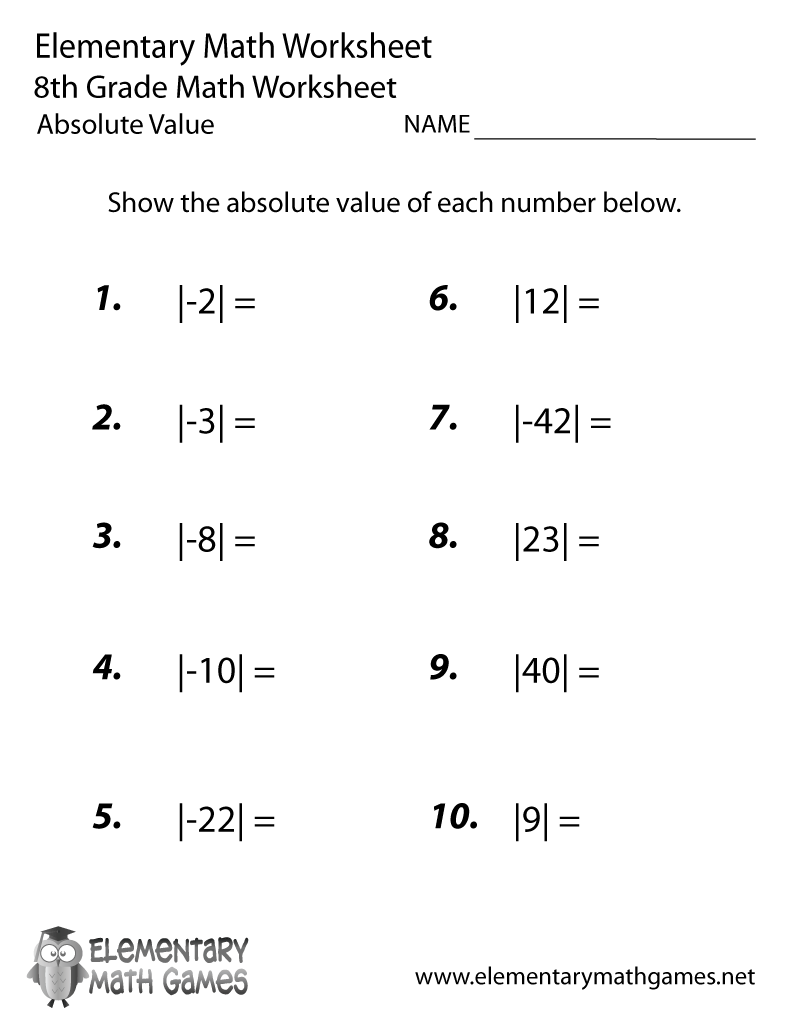 Free Printable Absolute Value Worksheet For Eighth Grade