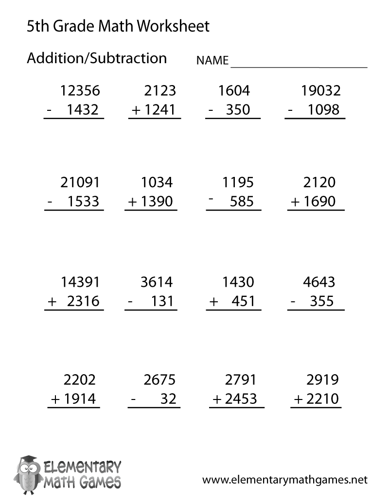 Fifth Grade Arithmetic Worksheet Printable