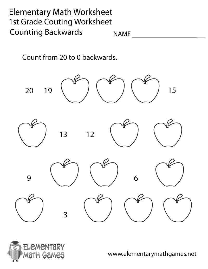 Free Printable Counting Backwards Worksheet for First Grade