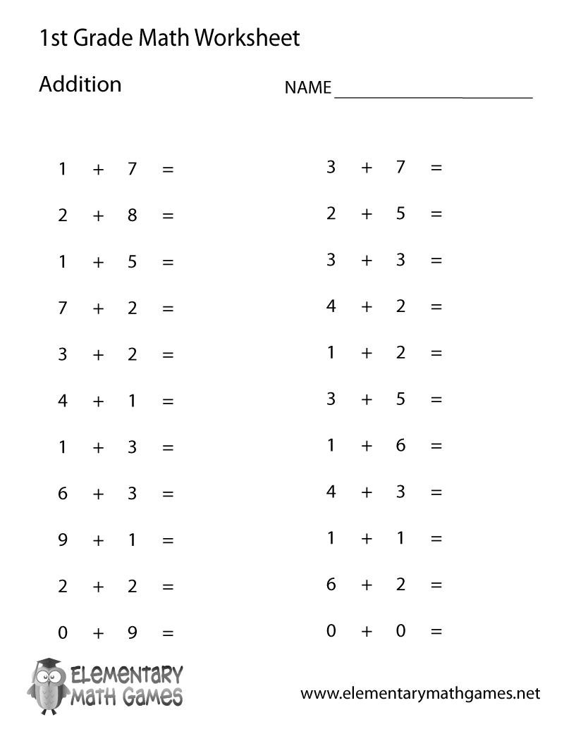 First Grade Simple Addition Worksheet Printable