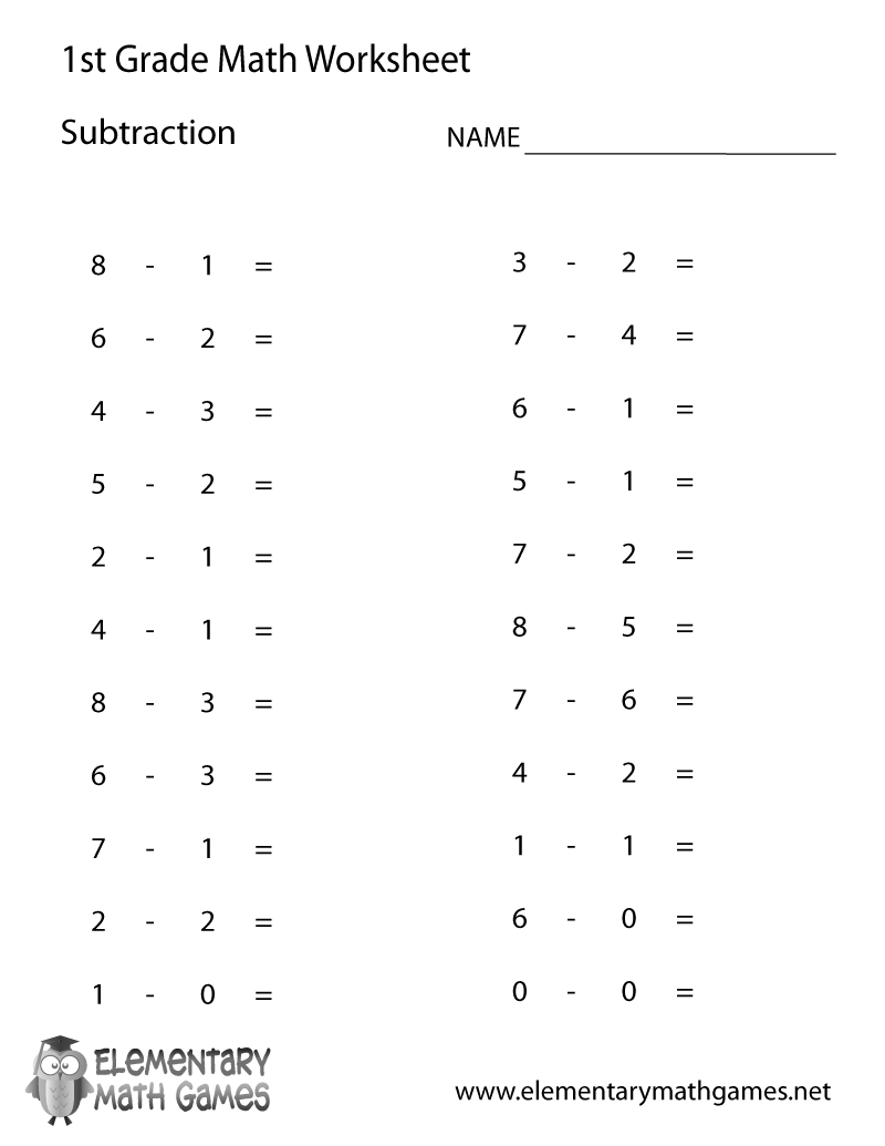 first grade subtraction worksheet. Black Bedroom Furniture Sets. Home Design Ideas