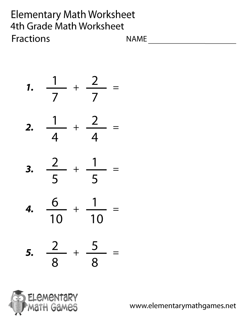 Free Printable Adding Fractions Worksheet for Fourth Grade
