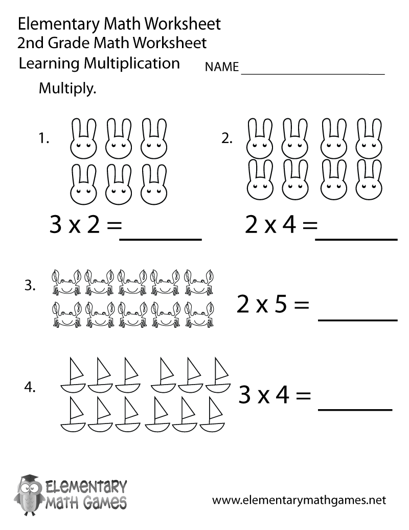 Second Grade Multiplication Worksheet Printable