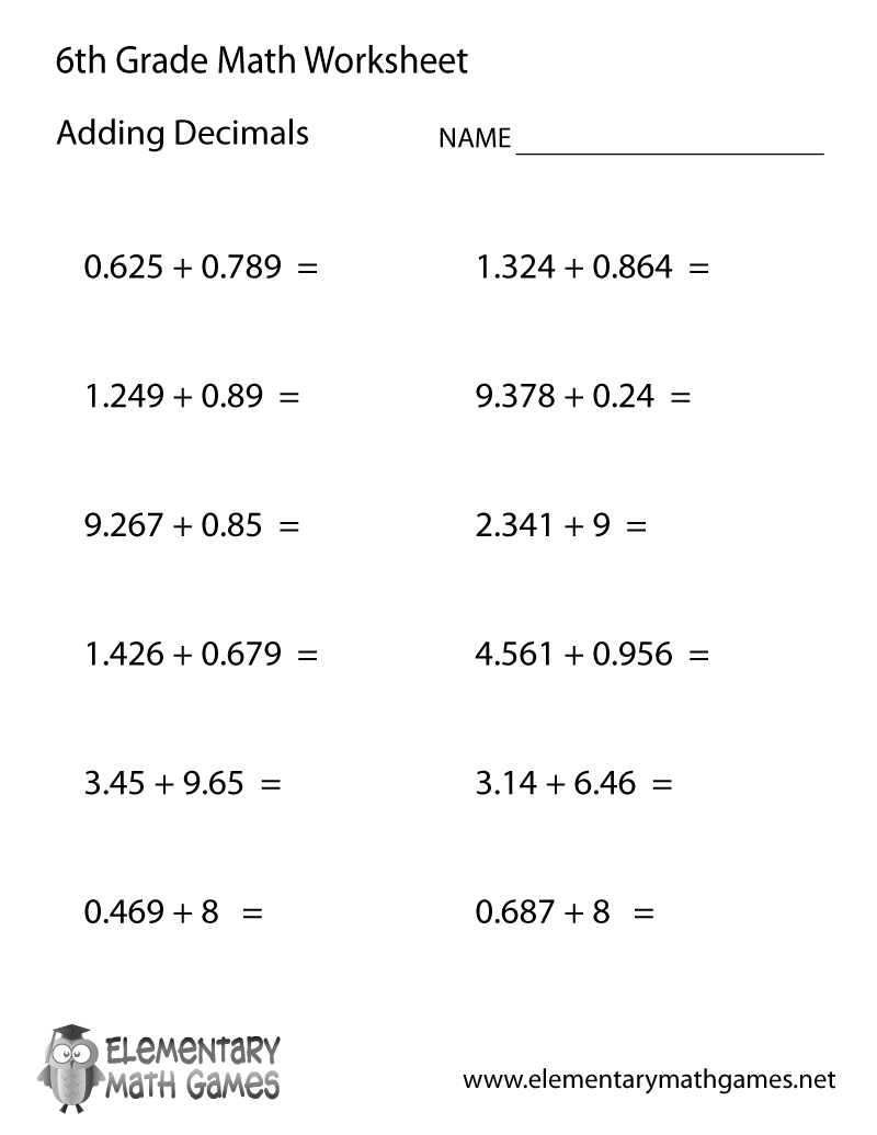 Adding Decimals Worksheet For Sixth Grade
