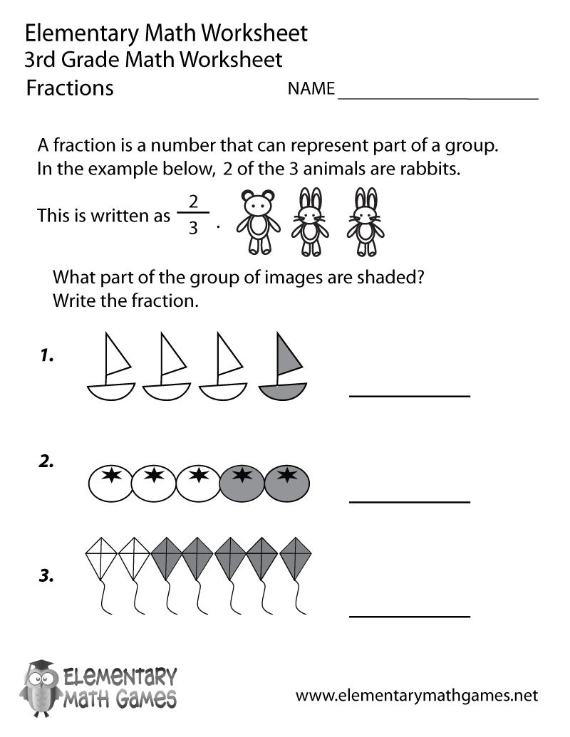 Third Grade Fractions Worksheet